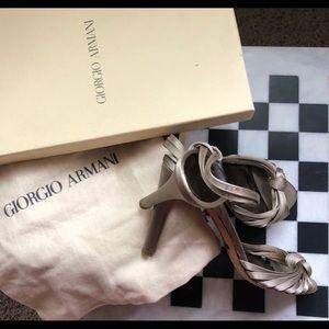 Vintage Giorgio Armani Silver Satin Strap Stiletto